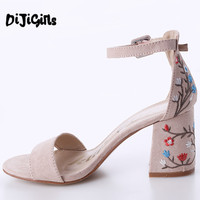 Women Sandals Embroider High Heel Women Sandals Ethnic Floral Sandalias Muje Party Shoes Zapatos Mujer