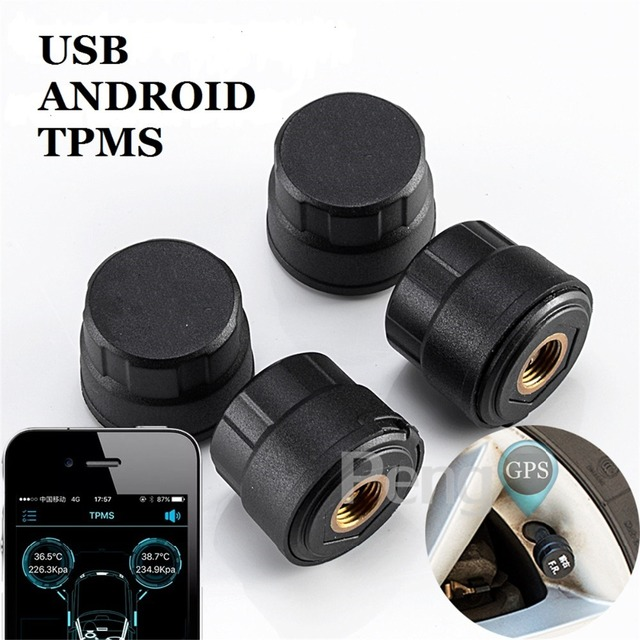 TPMS for Android CAR DVD Player GPS Navigation Car Tire Pressure Monitoring System with 4 Internal Tyre Sensors USB Interface
