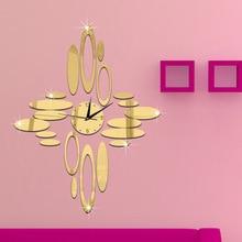 Oval 3D Acrylic Self-Adhesive Quartz Clock Living room study office classroom silent mirror gold sliver wall clock custom made