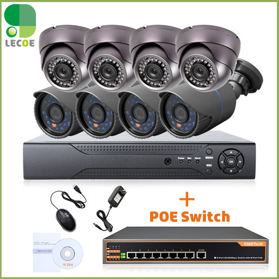 CCTV 8CH POE security System/kit with 8CH 1080P NVR ,8pcs 720P POE Cameras and 8ch POE Switch .330ft POE transmision new 8ch