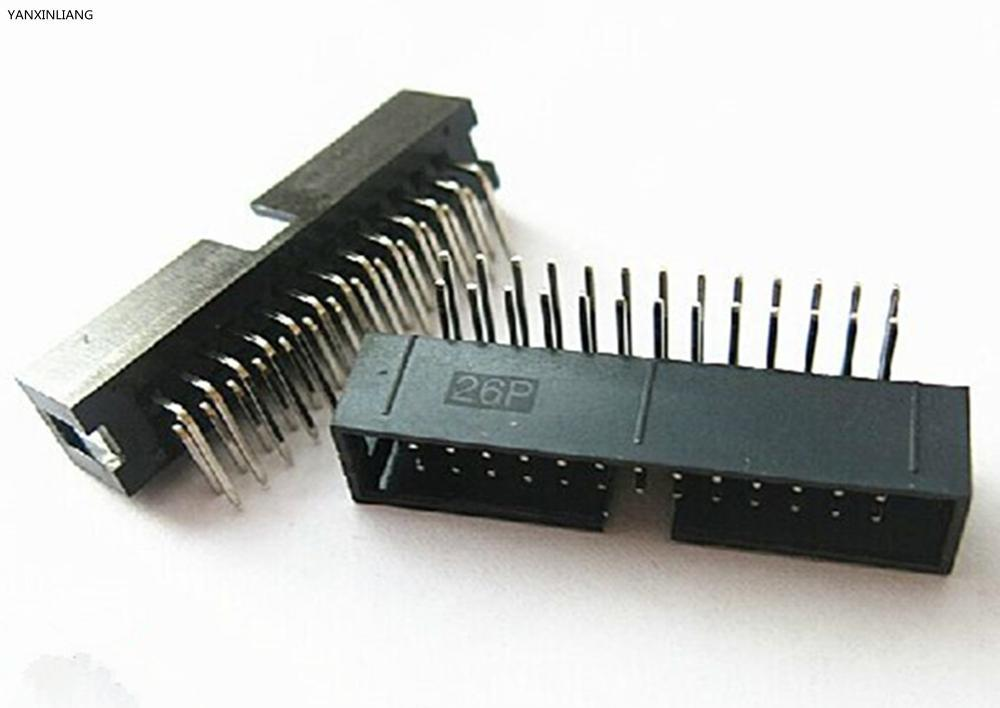 10PCS DC3 26 Pin 2x13Pin Right Angle Double Row Pitch 2.54mm Double-spaced Pin Male IDC Socket Box Header Connector High Quality