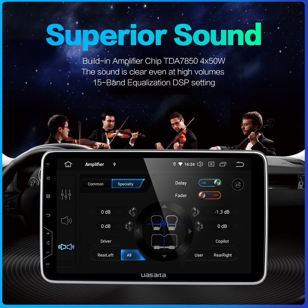 "Image 4 - Dasaita 2 Din Radio 10,2 ""IPS pantalla Android 9,0 HDMI Universal estéreo de coche sistema Multimedia para Toyota DSPCar Multimedia Player   -"