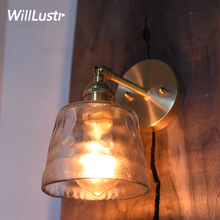 frosted hammered glass wall sconce light handmade nordic crystal dinning room hotel bar restaurant luxury copper brass cafe lamp