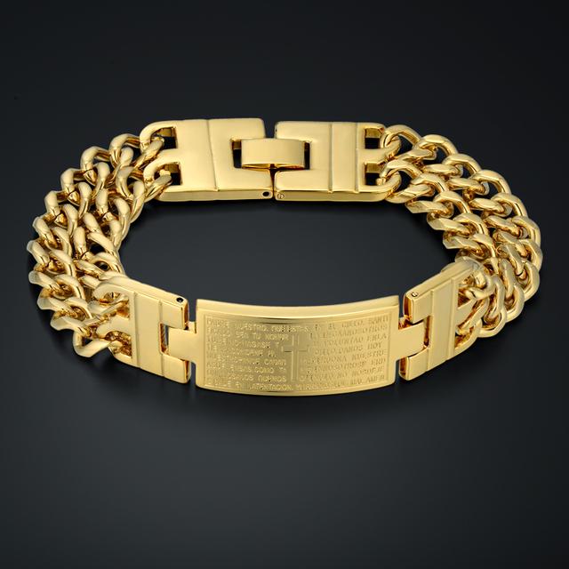 Jesus Christianity Bible Spanish Bracelet  Unique Gold Cross Thick Chain & Link Bracelet 18k Real Gold Plated Men Jewelry