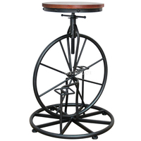 Antique European Style Bicycle Design Bar Chair 67 80CM Height Iron Solid Wood High Footstool Rotatable Swivel Barstool Chair