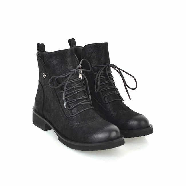 YMECHIC 2018 dame Retro Kreuz Gebunden Ankle Militär Kampf Stiefel für Frauen Grün Schwarz Chunky Ferse Winter Schuhe Plus Größe 34-45
