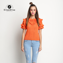 EE Ladies Ruffles Sweater 2017 Ruffles Sweater Women Sweater Short Sleeve Orange Sweater Women