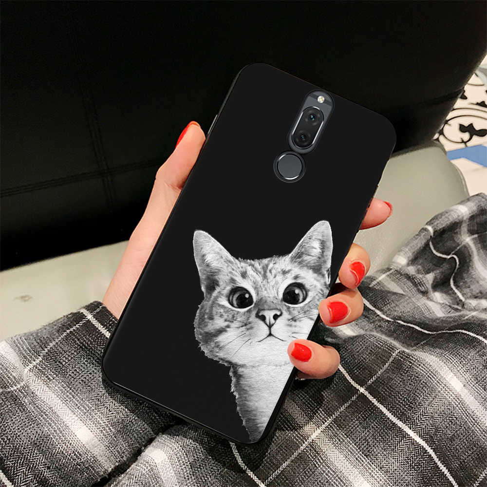 For Huawei Mate 10 Lite P10 P20 Pro P8 P9 Lite 2017 For Honor 8 9 Lite Y9 2018 Enjoy 8 Plus Cat Sky Pattern Black TPU Phone Case