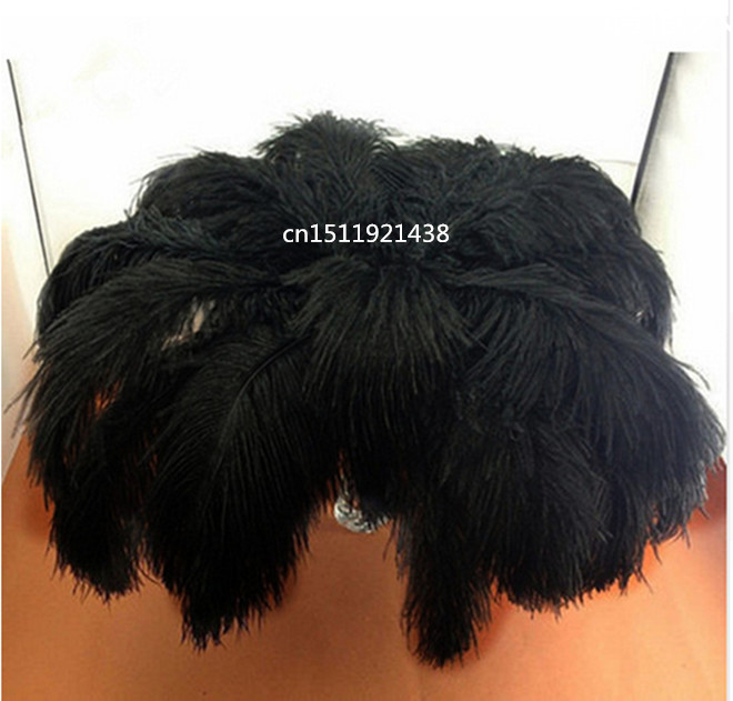 Wholesale and retail high quality 50 pieces more black ostrich feathers 35 40 cm dini jewelry