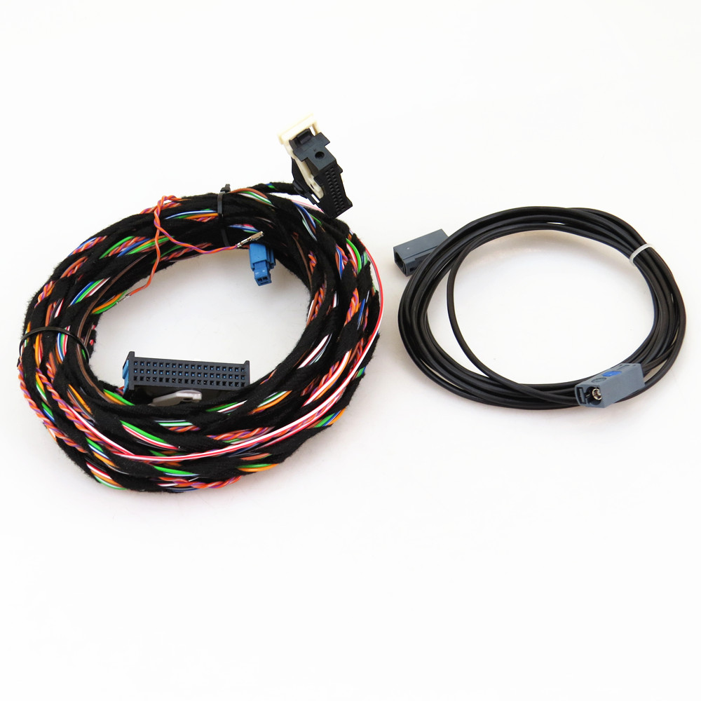 TUKE 12V RGB Rear View Reversing Camera Cable Harness Pigtail Fit RCD510 For VW Tiguan 5ND 827 566 C 5N0 907 441 A