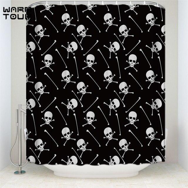 Warm Tour Black Background Skull Pattern Decorative Fabric Shower ...