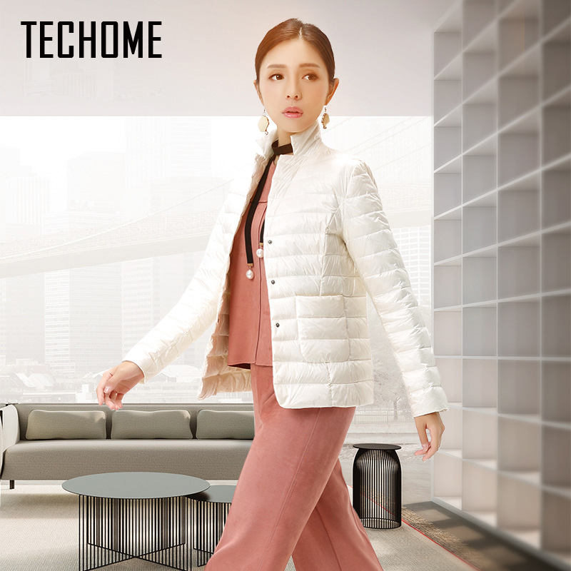 90% White Duck Down Jacket Autumn Winter 6 Colors New Warm Slim Zipper Light Down Coat Jacket Women S-XXL