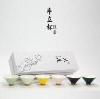 6PCS New Tea Cup Set Rainbow Mug Ceramic Hand painted Strokes Hats Chinese Kung Fu Drinkware With Gift Box