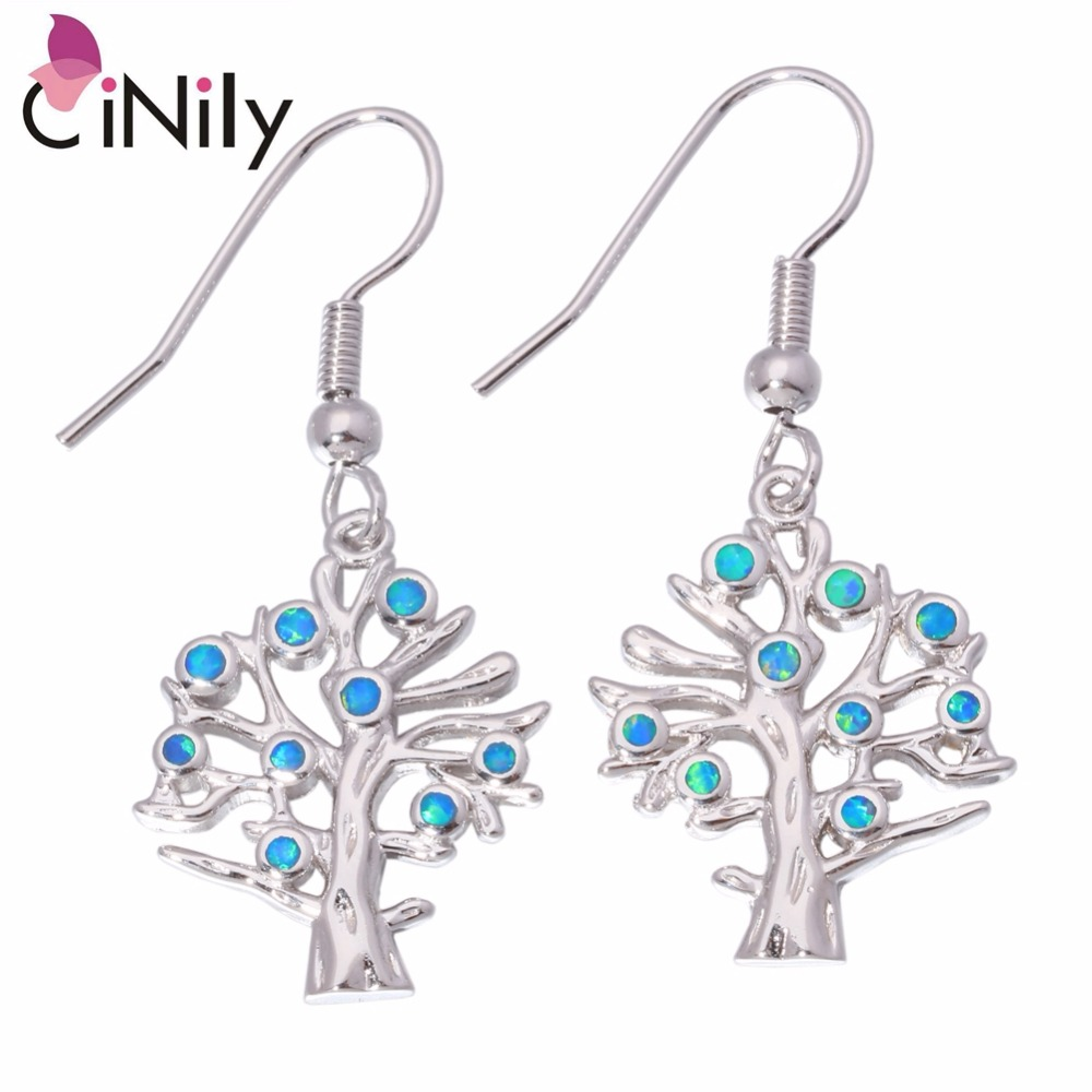 CiNily Created Pink Orange Blue Fire Opal Silver Plated Wholesale Tree for Women Jewelry Drop Earrings 1 1/2 OH2957-60