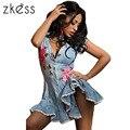 Zkess 2017 Denim Dress Женщины Плиссированные Вышивка Летний Стиль С Коротким Рукавом Сексуальный Вскользь Джинсы Платья Vestidos Robe Femme LC22780