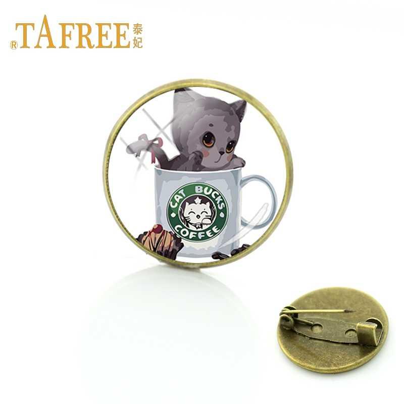 TAFREE 絶妙なティーカップ猫ブローチダークグレー猫ティー振っ挨拶ブローチドレスブローチアクセサリージュエリー TB45