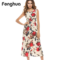 Fenghua Women Vintage Floral Print Dress Summer 2017 Casual Plus Size Boho Maxi Long Bohemia Beach