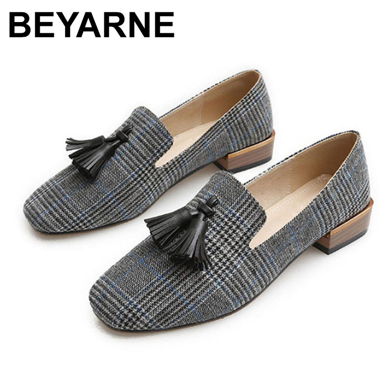 low priced large discount new high BEYARNE Tassel loafers women 2019 Designer Flats canvas boat shoes ...