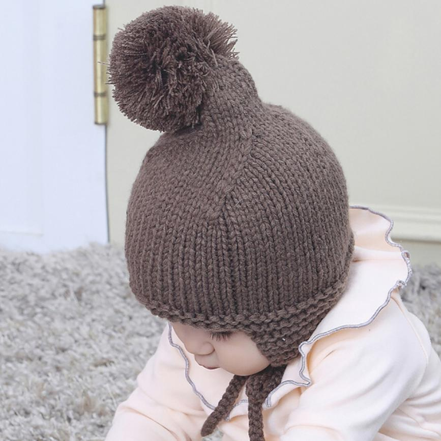 c5677da4802 baby hat accessories child hat gray Christmas hat Winter Autumn Warm beanie  Earflaps newborn toddler baby hats with pompom-in Hats   Caps from Mother    Kids ...