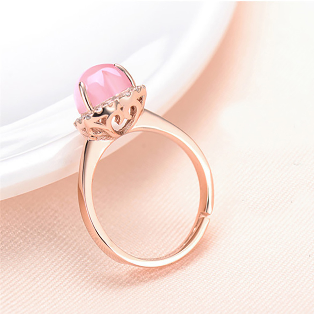 925 Sterling Gold Sliver Rose Quartz Stone Love Women 39 s Ring Heart Shape Opening Pink Crystal Jade anillos de Gemstone Jewelry in Rings from Jewelry amp Accessories