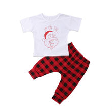 Summer Casual Infant Kids Baby Boy Girl font b Christmas b font Set Santa Claus Tops