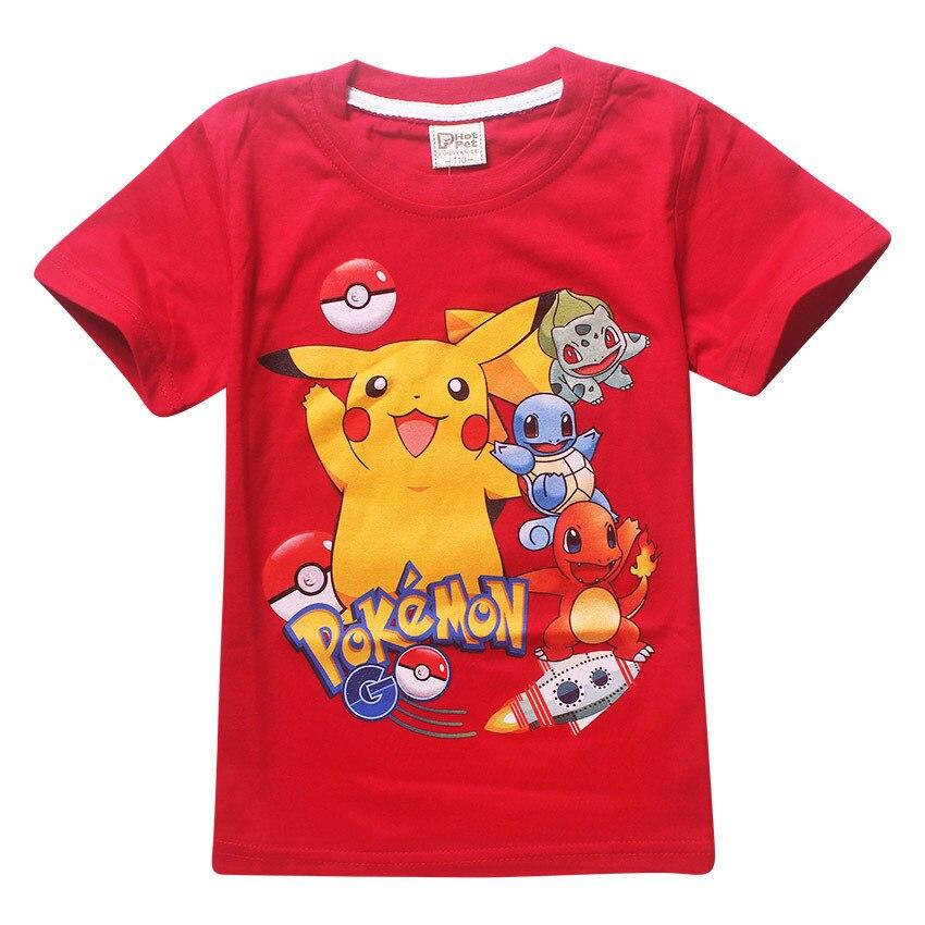 Children T shirts for Girls Clothes Baby Boys Summer Tops Tee Shirts Poly Pokemon Print Kids T-shirts Boy Pokemon Clothing