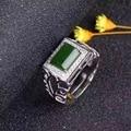 Luxuoso anel quadrado com jade verde natural elegante 18 K banhado anel de prata para o homem 6mm * 8mm moda anel de jade verde