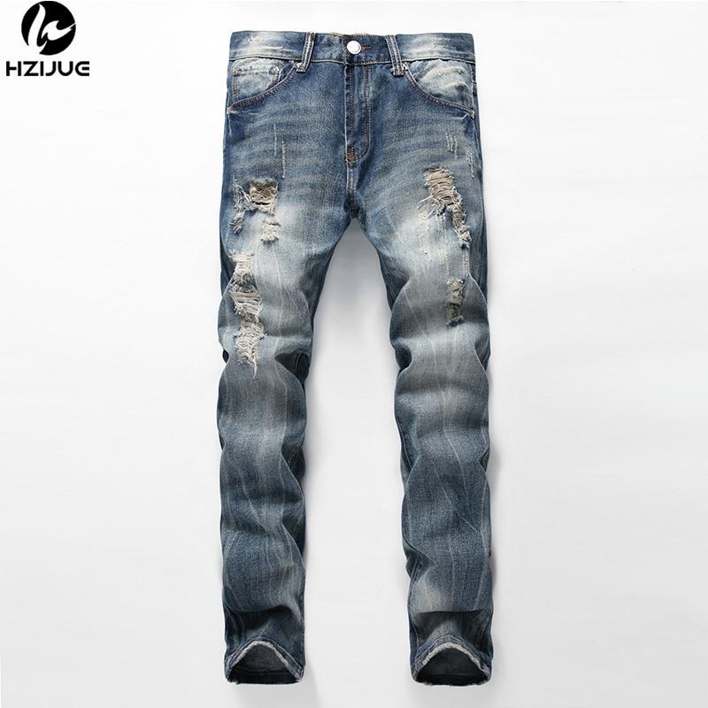 HZIJUE 2017 Streetwear Straight Denim Big Ripped Jeans Trousers Blue Color Mens Hole Jeans Designer Hip Hop Brand Jeans Men