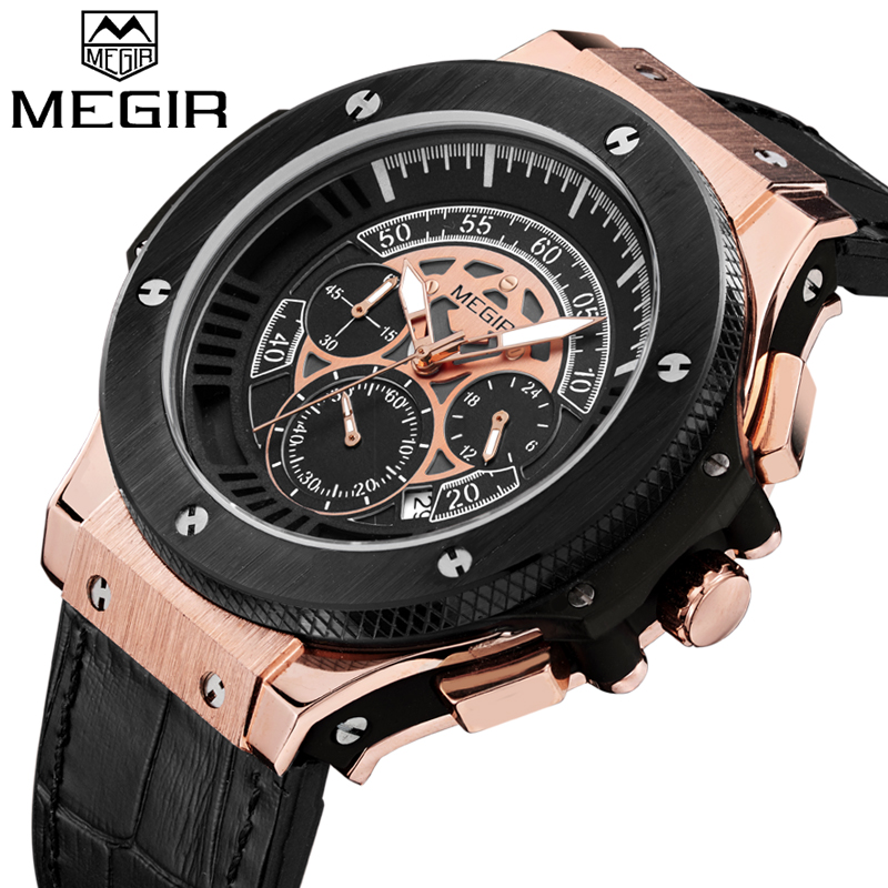 2018 MEGIR Man Quartz Watch Men Military Sport Watches Mens Fashion Causal Wristwatch Male Waterproof Watches Relogio Masculino new fashion mens watches gold full steel male wristwatches sport waterproof quartz watch men military hour man relogio masculino