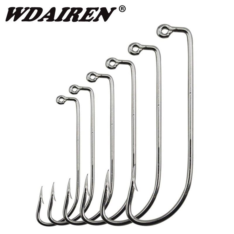 20Pcs//Lot Wide Worm Hook Jig For Soft Bait Fishing Crank Hook Bass Hook