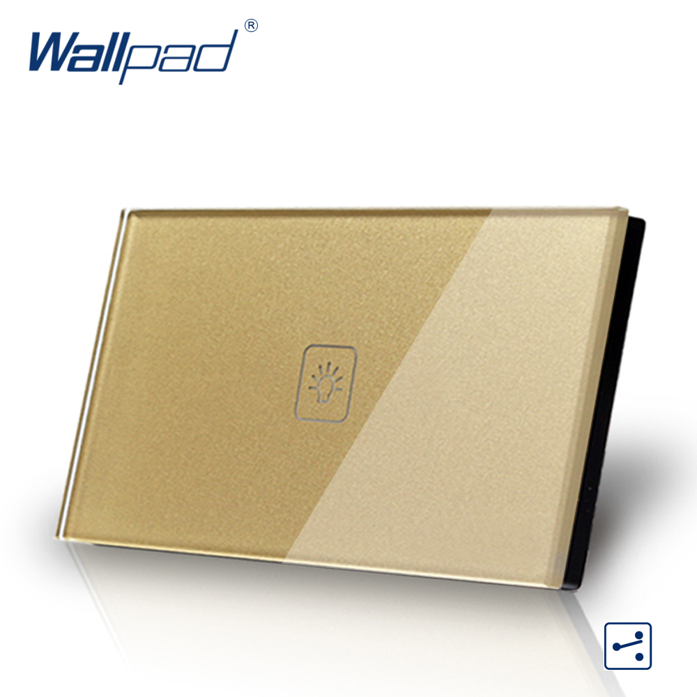 US/AU standard Wallpad Touch switch 1 gang Touch Screen Light Switch 2 way Gold Crystal Glass Panel Free Shipping free shipping us au standard touch switch 1 gang 2 way control crystal glass panel wall light switch kt001dus