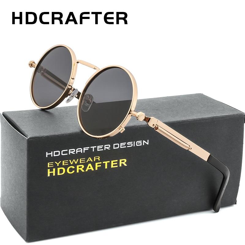 8c59a94a9c14 HDCRAFTER Vintage Steampunk Sunglasses Men Round Gold Frame Metal Gothic Eyewear  Shades Brand Designer Sunglasses