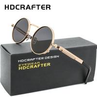 HDCRAFTER Vintage Steampunk Sunglasses Men Round Gold Frame Metal Gothic Eyewear Shades Brand Designer Sunglasses
