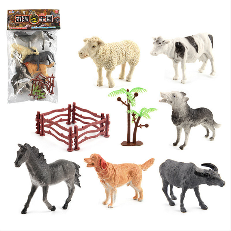 8pcs Simulated Farm Animals Horse Sheep Cow Dog Wolf with Enclosure Tree Toys Plastic Animals Model Kids Toy 10cm funlock duplo blocks toys farm animal figures bunny cat dog cow pony pig sheep rooster educational toys for kids gifts