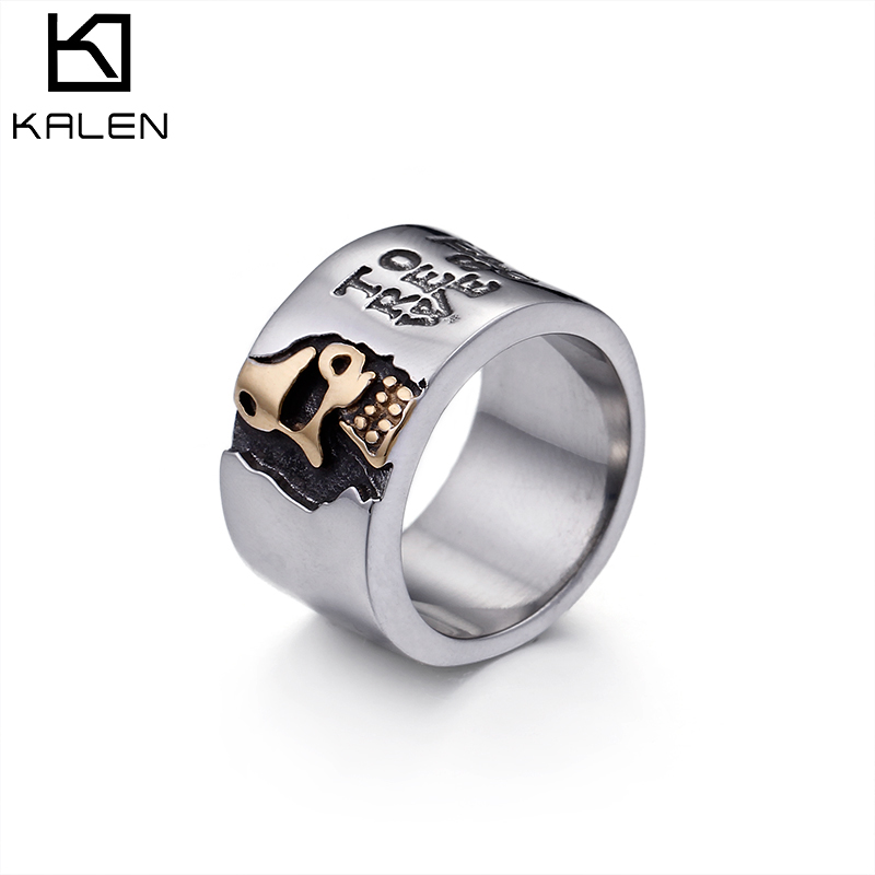 Kalen Silver Polished Stainless Steel Skull Punk Rings For Men Finger Rings (Size #8~12)