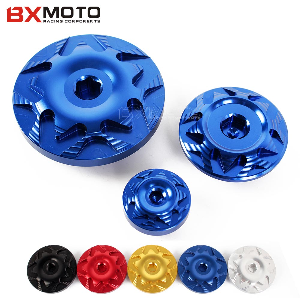 Motorcycle Engine side cover Camshaft Oil cap screw For Suzuki GSXR 600/750 2006-2012 K6 K7 K8 K9 GSXR1000 2005-2014 motorbike motorcycle engine cover camshaft plug crankcase cap oil filler cover screw for honda cbr500r cb500f nc700 nc750 2013 2014