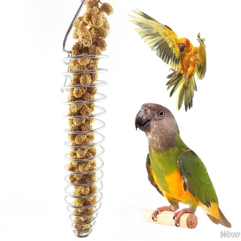 Попугай Еда фруктами просо Нержавеющаясталь Кормление устройства подачи клетке птица