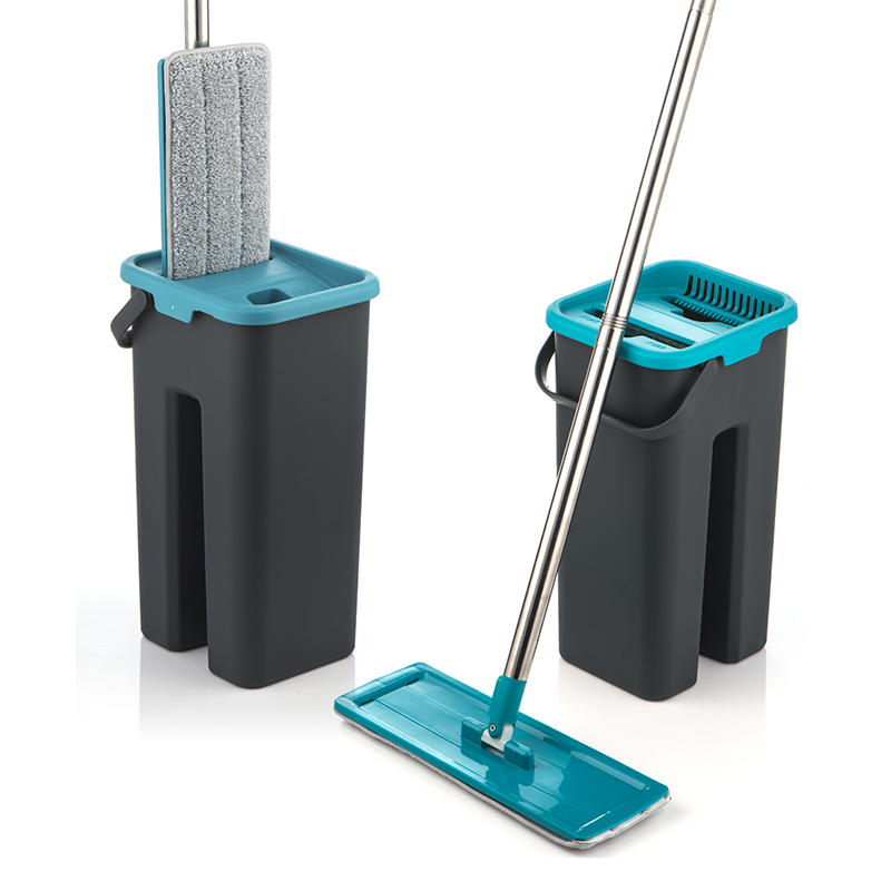 Serpillère plate et seau serpillère de nettoyage de sol sans essorage à la main serpillère en microfibre serpillère humide ou sèche utilisation sur les carreaux stratifiés en bois dur