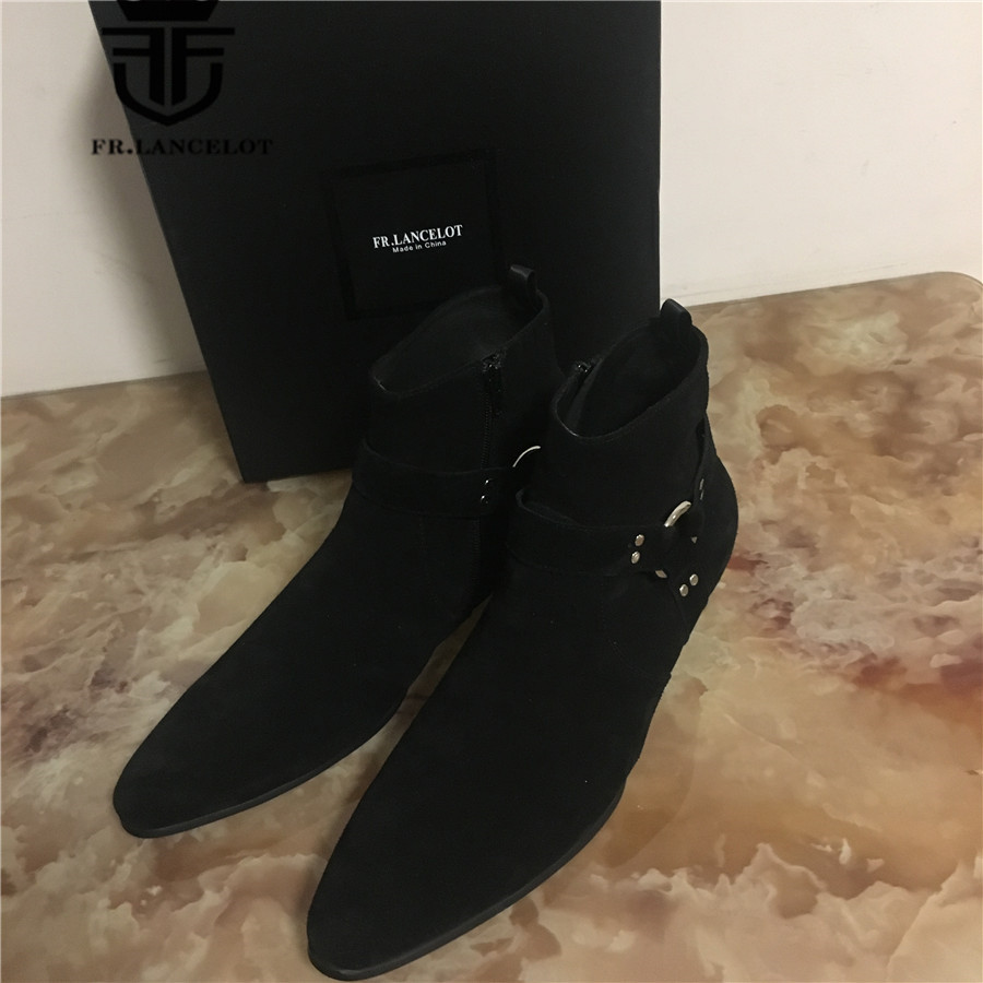 Personalized Exclusive Pointed Toed suede black genuine leather Slim designed wedge ankle strap men short bootsPersonalized Exclusive Pointed Toed suede black genuine leather Slim designed wedge ankle strap men short boots