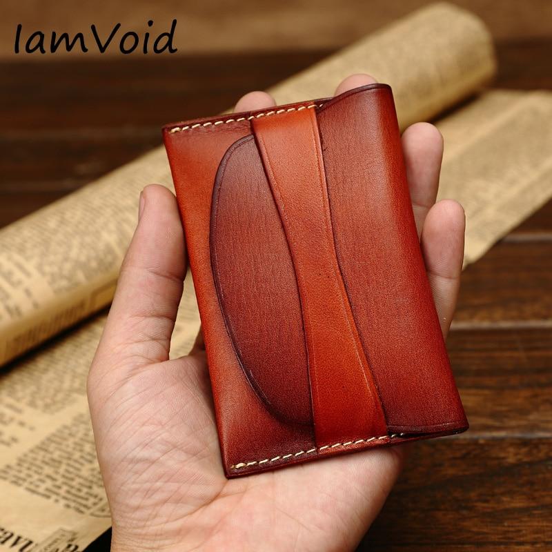 71080a5f4 Estilo clássico de Couro Curtido Vegetal Carteira de Couro Cartão de Visita  Titular do Cartão de
