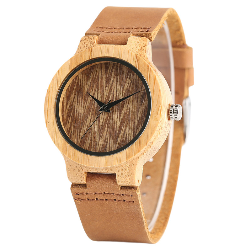 Casual Genuine Leather Band Strap Women Quartz Wrist Watch Nature Bamboo Wood Minimalist Wooden Watches Ladies Gift simple handmade wooden nature wood bamboo wrist watch men women silicone band rubber strap vertical stripes quartz casual gift page 8
