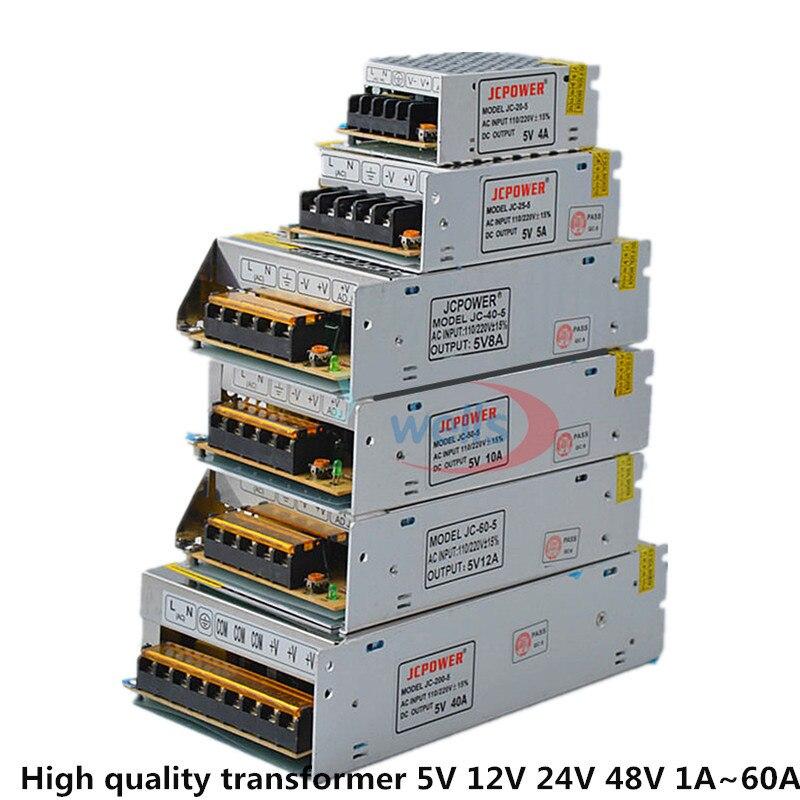 Ac dc 5 v 12 v 24 v 36 v 48 v fonte de alimentação 2a/3a/4a/5a/6a/10a/12a/20a/30a/40a/60a 110/220 v transformador para led luz de tira led driver