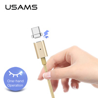 USAMS Magnetic Cable for Type c USB cable gold color 1.2m 2A/5V Nylon charging cable Mobile Phone Charge Magnet Mobile Phone Cables     -
