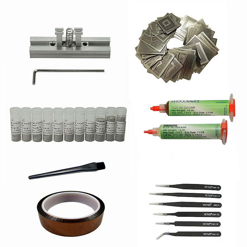 NEWEST BGA Reballing stencils  heating fixtures bga station solder ball flux tweezers  NEWEST BGA Reballing stencils  heating fixtures bga station solder ball flux tweezers