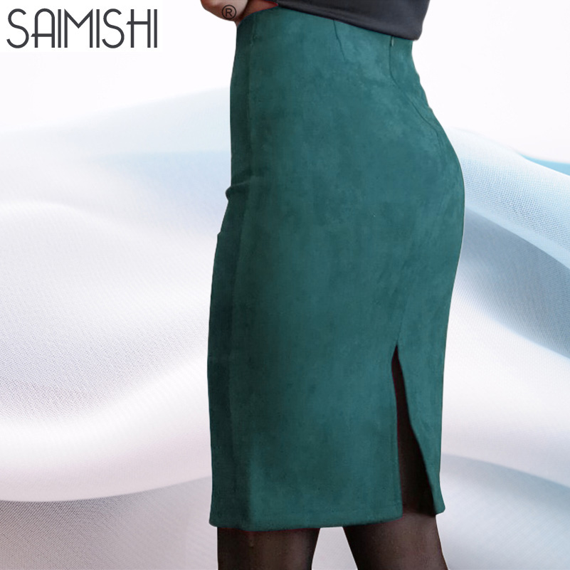 Sainishi Super Deals Women Suede Solid Color Pencil Skirt Female Spring Autumn Basic High Waist Bodycon Split Knee Length Skirts(China)