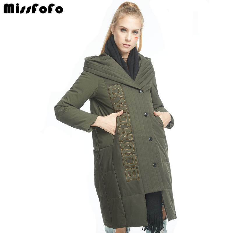 MissFoFo 2017 New Winter Down Parka Brand Fashion Women Jacket White Duck Dwon With One Black