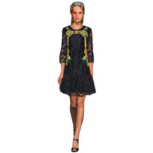Real Sexy Straight Gold Embroidery Short Black Lace Cocktail Dresses 2017 with Sleeves Mini Prom Gowns vestido de festa YSE27