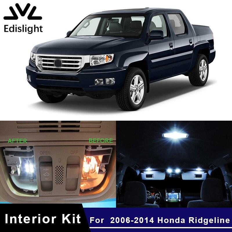 Edislight 15Pcs White Ice Blue LED Lamp Car Bulbs Interior Package Kit For 2006-2014 Honda Ridgeline Map Dome Door Plate Light