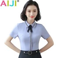 Summer OL Elegant Slim Shirt Women Short Sleeve Bow Tie Formal Chiffon Blouse Office Ladies Plus