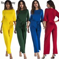 Heyouthoney 5 Colors Autumn Elegant Rompers Womens Fashion Jumpsuit Ruffle Sleeve Solid Color Sashes Jumpsuits Sashes